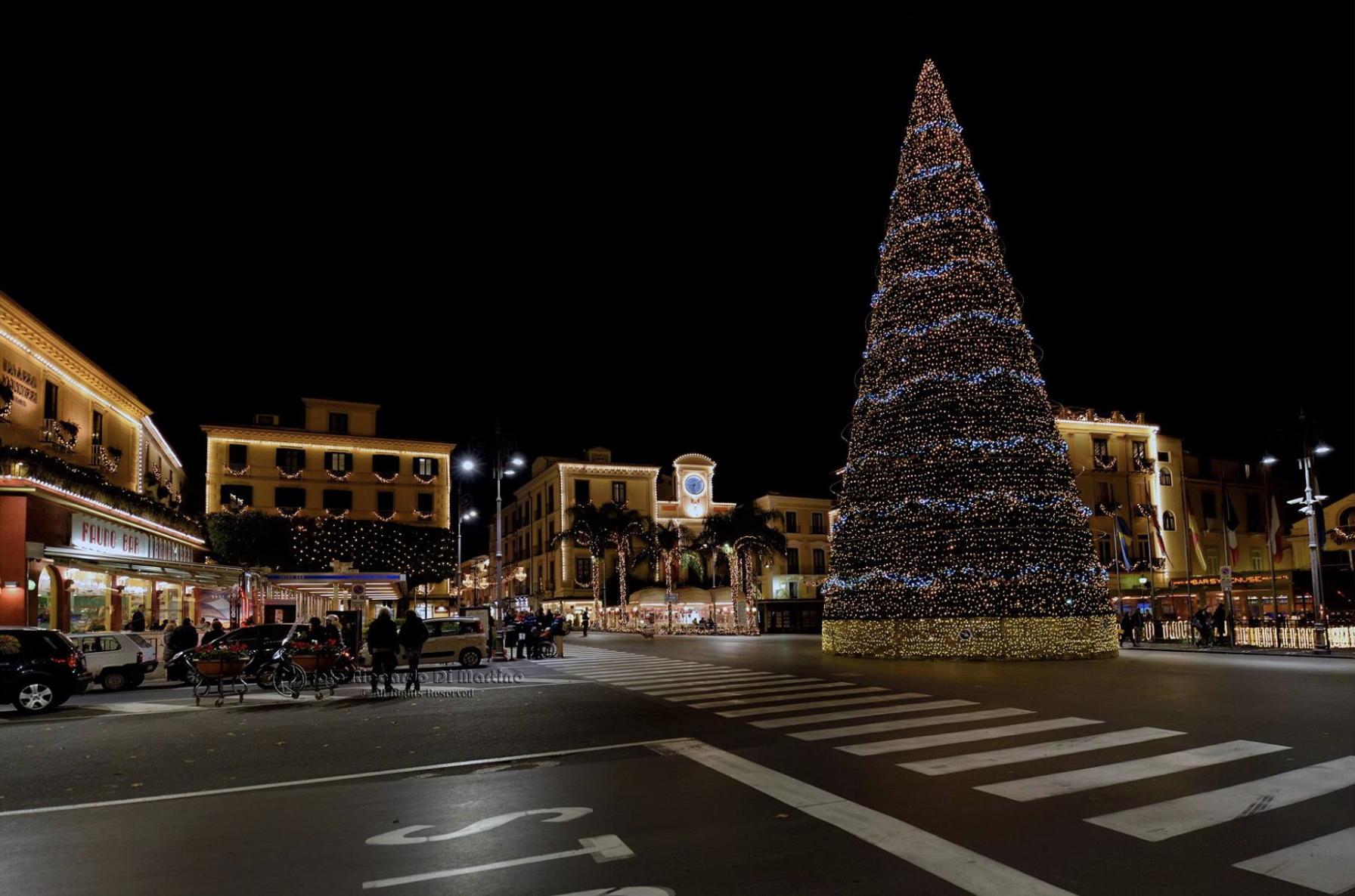 Christmas lights in Sorrento, Piazza Tasso