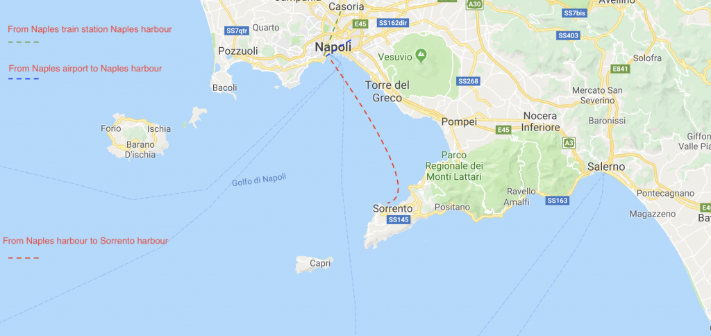 From Naples to Sorrento by ferry