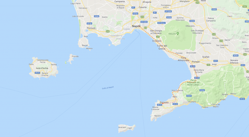 Naples to Sorrento - Map