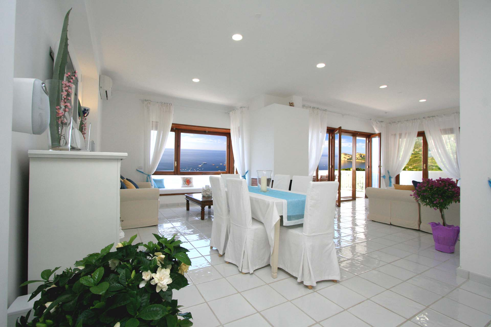 Dining Room in Luxury Nerano Villa with Sea View