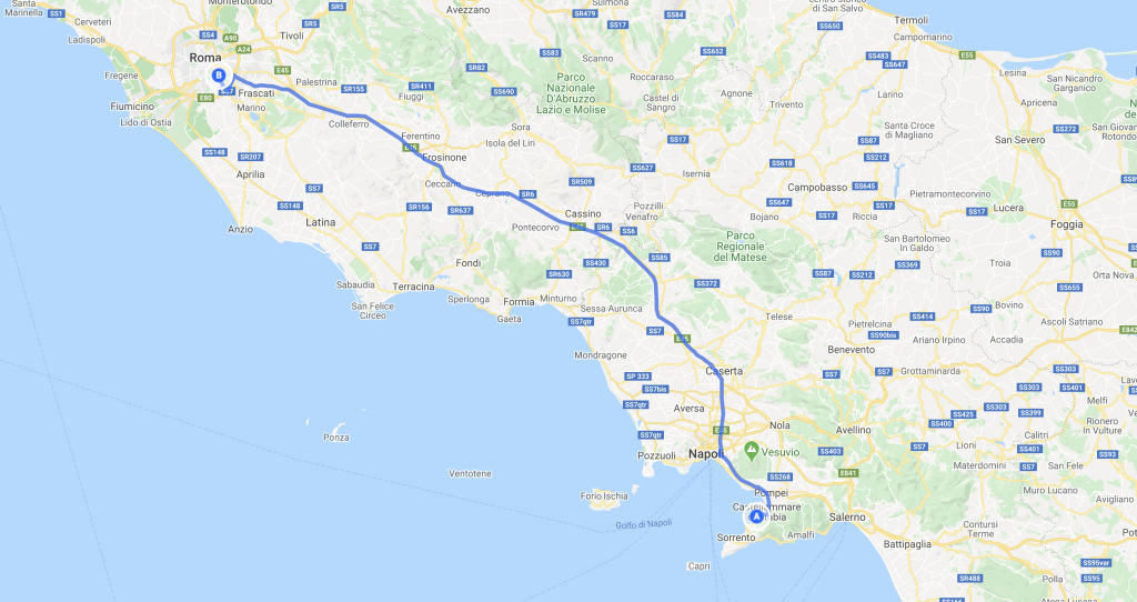 From Rome to Sorrento - Map